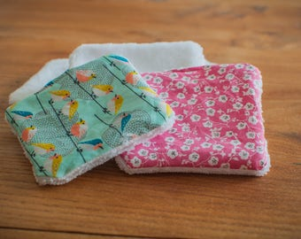 10 reusable washable cottons - cleansing and hygiene (pink birds and flowers design)