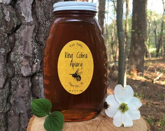 Raw Honey, Wildflower Honey, 2 Pound, Local Honey, North Carolina Honey, Really Raw Honey, Unfiltered Honey, NC Honey - 32 Ounce Glass Jar