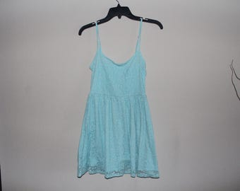 Light Blue Floral Mesh Dress Small