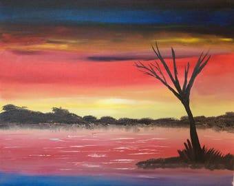 Art gifts - Housewarming gift - Oil Painting - Colours of sunset - Gift idea for her - Gift idea for him