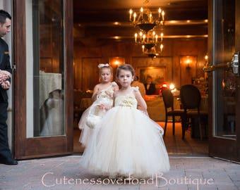 Ivory Flower Girl Tutu Dress-Ivory Tutu Dress-Ivory Girl Tutu-Ivory Birthday Tutu-Ivory Wedding Tutu-Ivory Birthday Tutu.