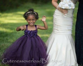 40% OFF ALL ORDERS-Eggplant Flower Girl Tutu Dress-Eggplant  Tutu Dress-Eggplant Girl Tutu-Eggplant  Birthday Tutu-Eggplant Wedding Tutu.