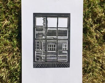 Out of my window - lino print, a4 handmade print, mono, black and white, city of Bath, Roman architecture, art, building