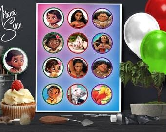 Moana Cupcake toppers/ Baby Moana Printables/Moana Toppers/ Moana Cake Toppers/ Instant Download/