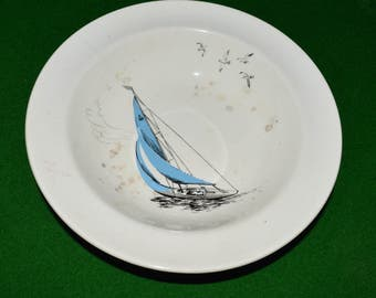 "1950s Cerial soup bowl made by  Palissy,them ""Regatta"""