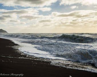 Beach Storm Waves Wall Art Print -- Fine Art landscape photography, Ocean, California, Home Decor, HeatherRobersonPhoto