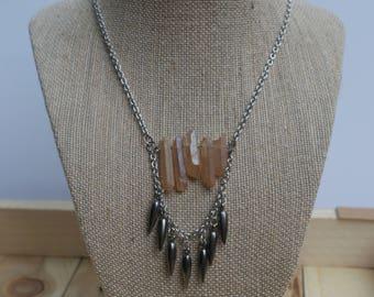 Peach Titanium Quartz Necklace