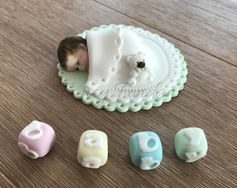 Edible Fondant Baby, 3D Christening Baby Shower Cake topper Decoration
