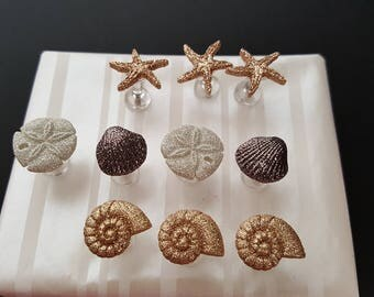 Glittery Seashell Push Pins, gift, thank you, birthday, welcome, cork board, bulletin board