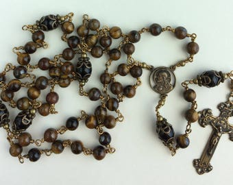 Heirloom, Unbreakable, Wire-wrapped Tigereye brown 6mm and Black Onyx 8mm Rosary with Bronze Crucifix.  Free Shipping!