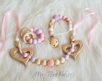 Teething set/ teether/ dummy clip/ pram garland