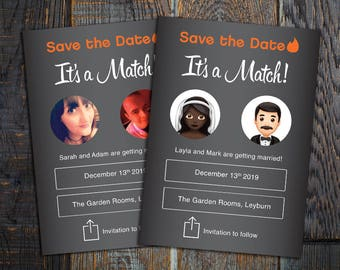 Tinder Save the Date, Its a match, Funny Save the date, tinder, printable, we swiped right, tinder wedding, funny invitation, online dating