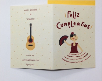 Happy Birthday in Spanish, Spanish birthday card, Feliz compleanos, greeting card