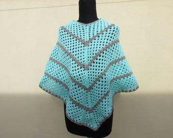Teal and beige poncho handmade crochet