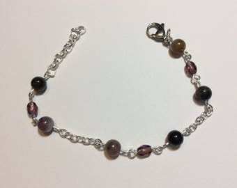 "Bracelet for women ""Tourmaline and chained pearls"""