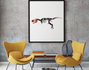 Dinosaur Print Art Poster Beast Illustration Home Decor