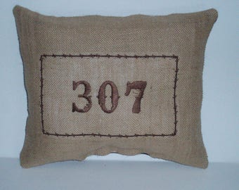 307 Embroidered Pillow on Burlap