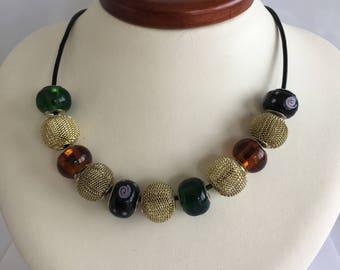 leather necklace handmade murano glass resin brass 22