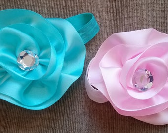 Pink and Aqua Flower Headband Set, Set of Two Headbands, Twin Headband Set