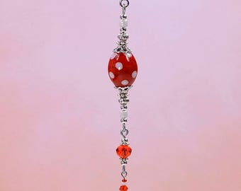 Handmade Vibrant Lady Bug Red and White Polka Dots Glass Purse Charm or Zipper Pull #Z803