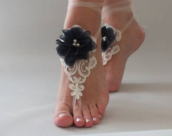 EXPRESS SHIPPING  Bridal anklet  ivory foot jewelry, lace sandals, beach wedding barefoot sandals, wedding barefoot ivory navy blue Flowers