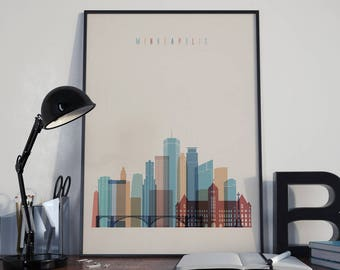Minneapolis Art Watercolor Minneapolis Wall Art Multicolor Minneapolis Print Wall Decor Minneapolis Poster Home Decor Minneapolis Photo