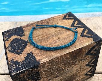 Teal Basic Stackable Bracelet, Wax String Bracelet, Friendship Bracelet, Waterproof Bracelet