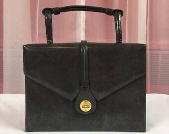 Vintage SHELDON 1960's Dark Gray Faux Patent Leather Gold Turn Lock Closure Baguette Handbag.