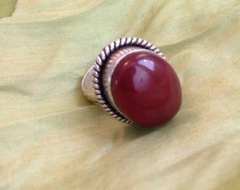 Carnelian ring, carnelian gemstone ring, Alpaca silver ring, Carnelian statement ring, girlfriend ring, holidays gift, gift for her,
