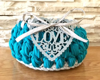Teal Storage Basket Crochet with decor Heart