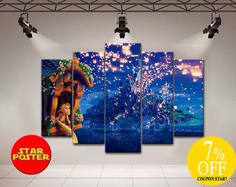 Rapunzel canvas, Rapunzel art, Rapunzel wall art, Disney Castle art, Disney art, Rapunzel print art, Disney princess art, Disney castle, Art