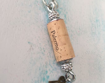 Palermo wine cork keychain, wine lover, keys, keychain