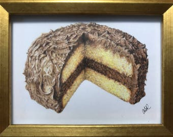Cake drawing in gold frame