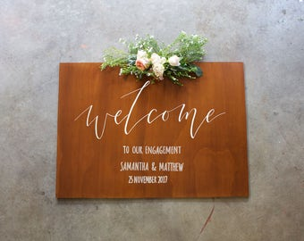 Engagement Sign. Welcome To Our Engagement. Wooden Wedding Signage. Save The Date.