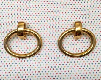 Vintage Ralph Lauren Hoop Gold Clip-On Earrings