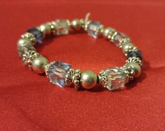 Blue and Grey Elastic Beaded Bracelet