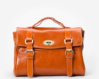 Classic Orange Handbag with Adjustable Shoulder Strap in Premium Leather - By Mayer