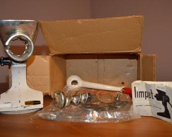 Vintage 1950s or 60s made in England Harper Limpet, tinned hopper meat grinder/mincer in original box.