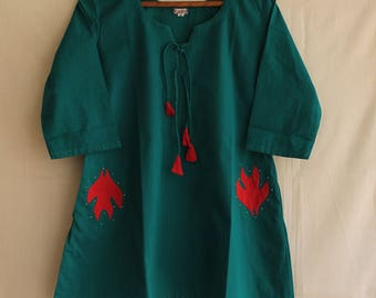 Green Cotton Short A line top with applique
