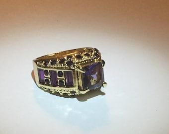 Cubic Zirconia Purple Gemstone Gold Ring Size 8