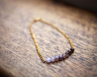 Purple Gradient Beaded Bracelet on a Gold Chain Minimalist Design