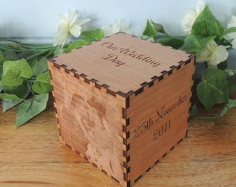 Personalised wedding laser engraved wooden photo cube