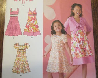 Girls Dress and Jacket Pattern, Simplicity 2683, Sizes 3, 4, 5, 6.