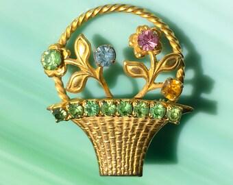 Multi Rhinestone Flower Basket Pin | Flower Jewelry | Flower Brooch | Birthday Gift for Her | Rhinestone Jewelry | Vintage Jewelry