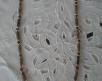 Beautiful Garnet, Jasper, Swavorski Crystal Beaded Necklace