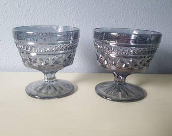 Vintage Grey Carnivel Glass squared footed dessert cups