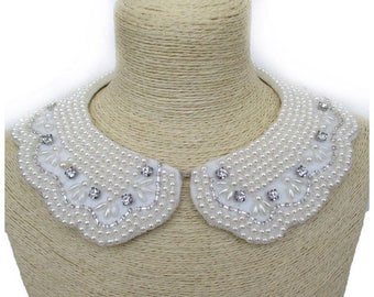 Faux collar hand beaded necklace