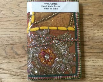 Gold embroided Indian patchwork diary (handmade recycled paper)