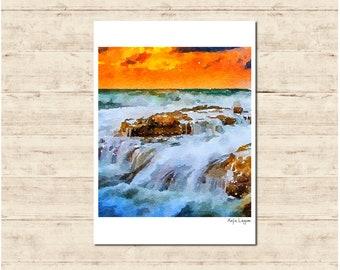 Waterfall Watercolour Painting Postcard Poster Art Print Q330
