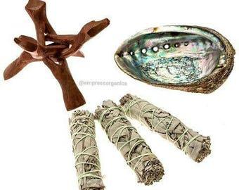 Abalone Shell, Cobra Stand & Sage Gift Set